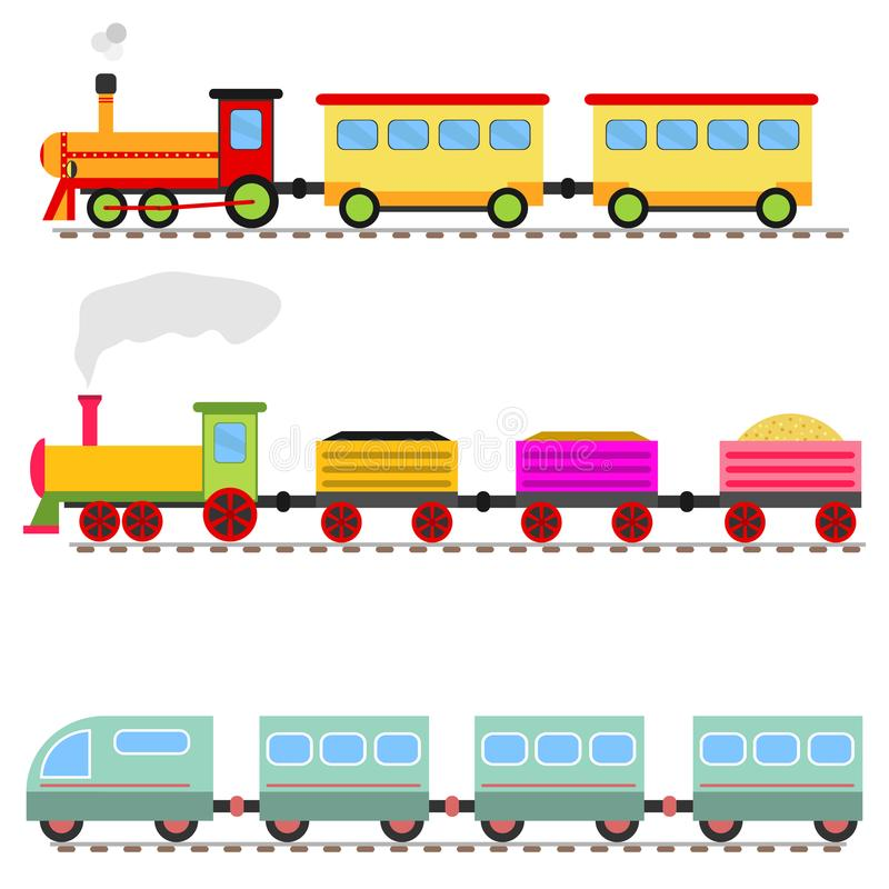 Beeldverhaaltrein, kinderen` s stuk speelgoed treinspoorweg vector illustratie