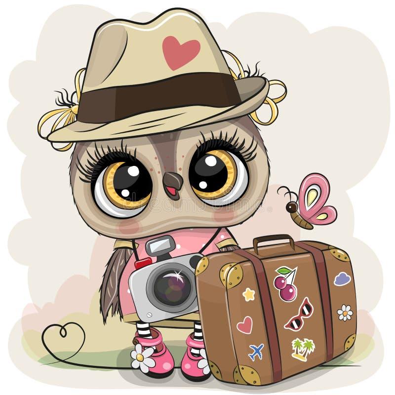 Beeldverhaaluil in een hoed met bagage vector illustratie