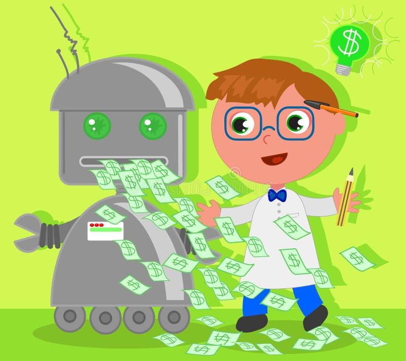 Beeldverhaaluitvinder met dollarrobot stock illustratie