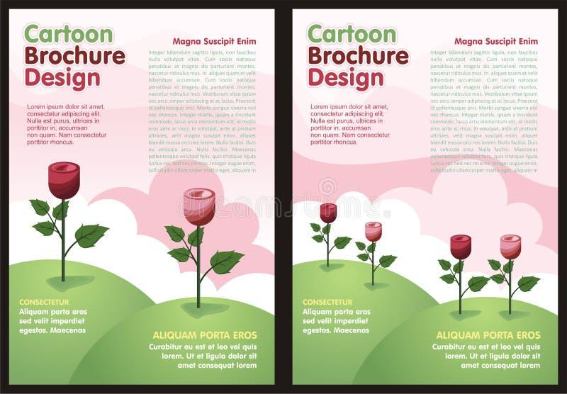 Beeldverhaalvlieger - Brochure met Mooie roze Bloem royalty-vrije illustratie