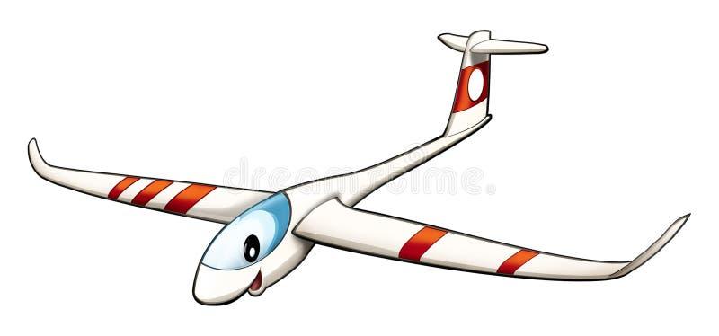 Beeldverhaalvliegtuig - geïsoleerd zweefvliegtuig - - karikatuur stock illustratie