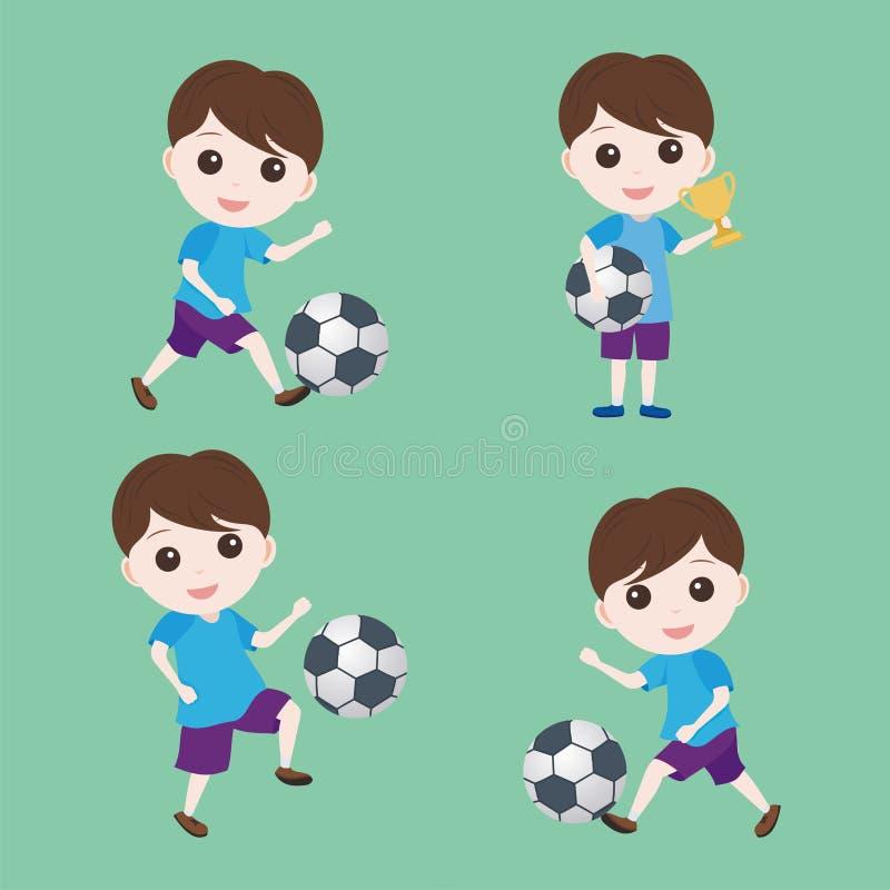 Beeldverhaalvoetballer met weinig jongenskarakter vector illustratie
