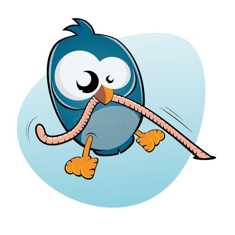 Beeldverhaalvogel en worm stock illustratie