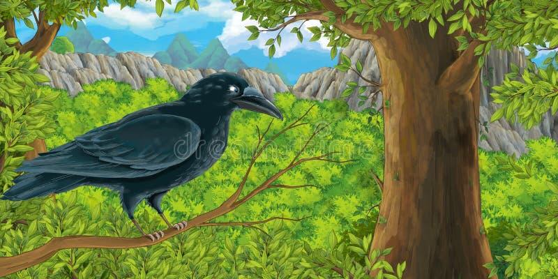 Beeldverhaalvogel - kraai op de tak in het bos royalty-vrije illustratie