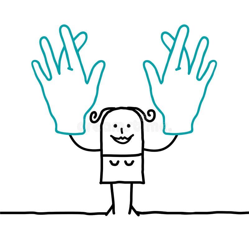 Beeldverhaalvrouw die haar vingers kruisen royalty-vrije illustratie