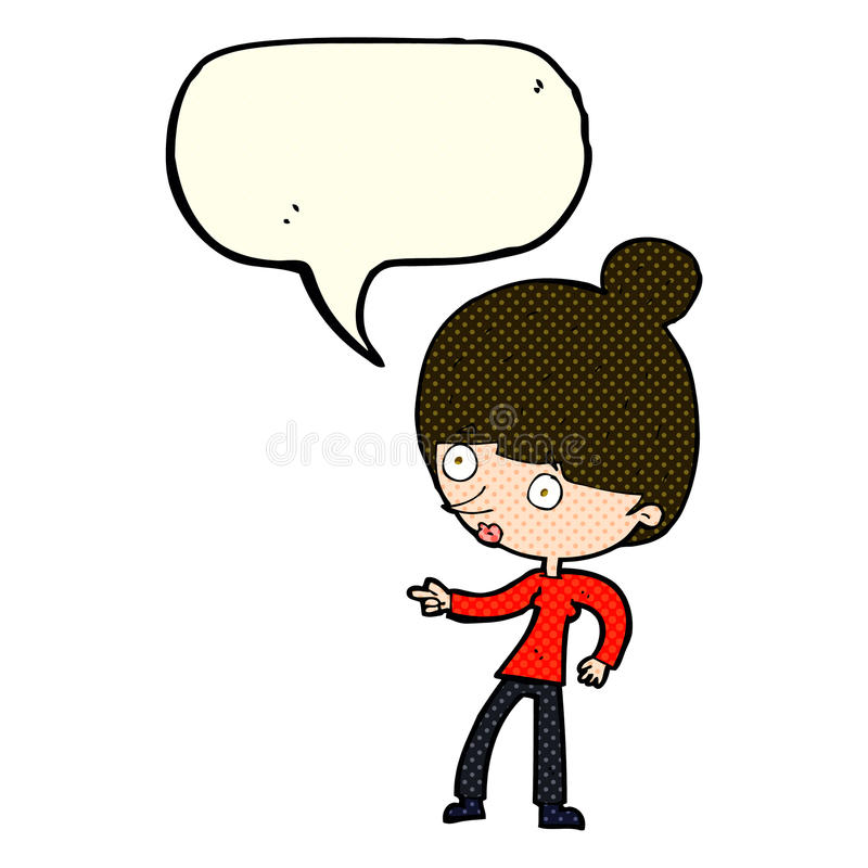 beeldverhaalvrouw die met toespraakbel richten stock illustratie