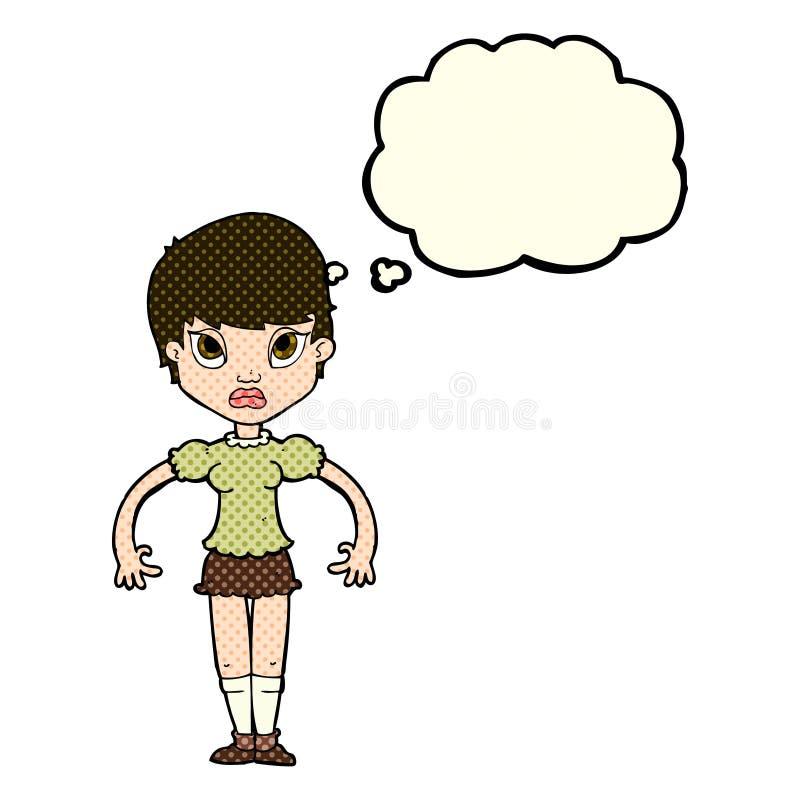 beeldverhaalvrouw kijken die die met gedachte bel wordt geërgerd vector illustratie