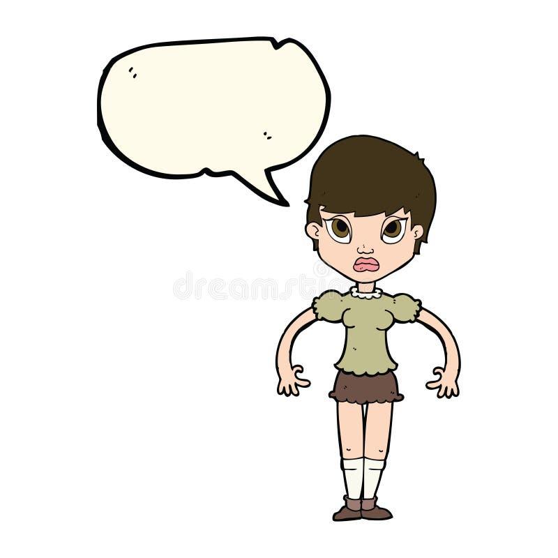 beeldverhaalvrouw kijken die die met toespraakbel wordt geërgerd stock illustratie