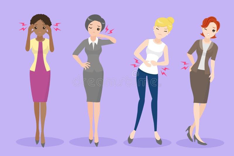Beeldverhaalvrouw met gezondheidsprobleem royalty-vrije illustratie