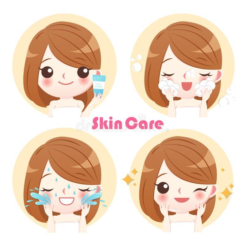 Beeldverhaalvrouw met wasgezicht stock illustratie