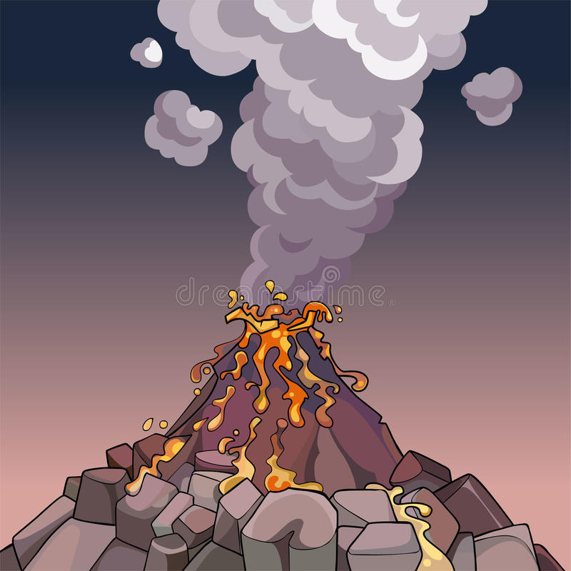Beeldverhaalvulkaan die lava en rook spuit vector illustratie