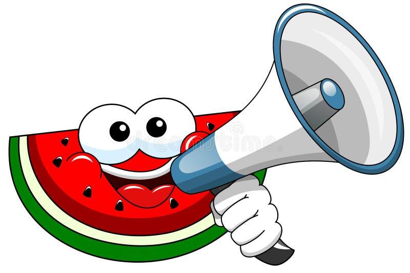 Beeldverhaalwatermeloen het spreken megafoon stock illustratie