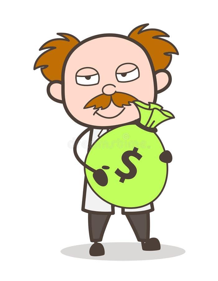 Beeldverhaalwetenschapper Holding een Vectorillustratie van het Steekpenningsgeld royalty-vrije illustratie