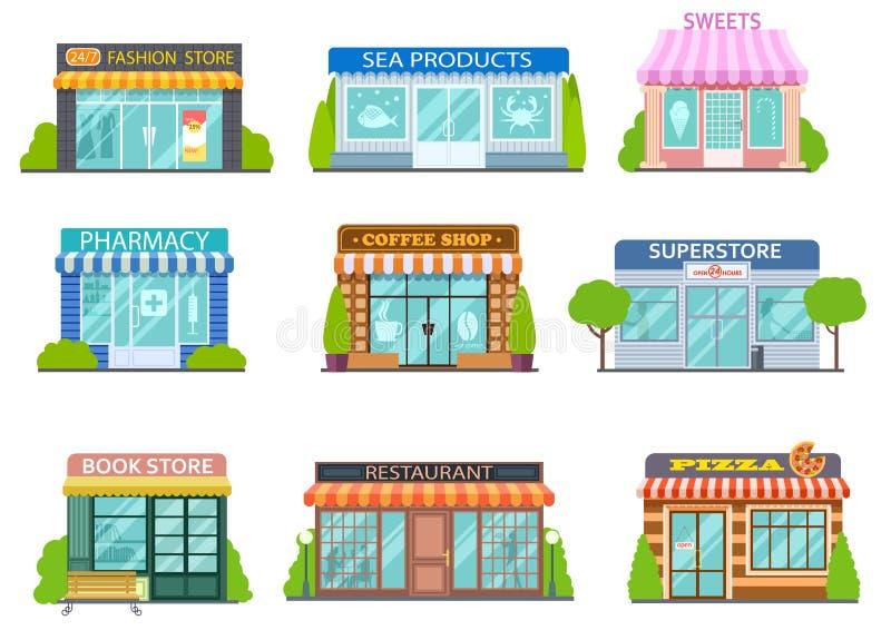 Beeldverhaalwinkels Kapperswinkel, boekhandel en apotheek Bakkerij, koffie en restaurant geïsoleerde vlakke verhalen vectorstraat stock illustratie