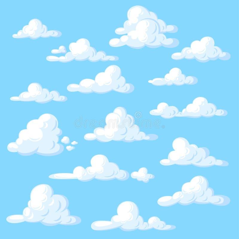Beeldverhaalwolken die op blauwe achtergrond worden geplaatst royalty-vrije illustratie