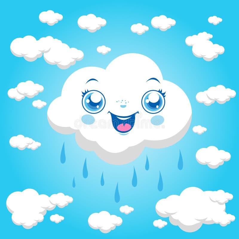 Beeldverhaalwolken het regenen vector illustratie
