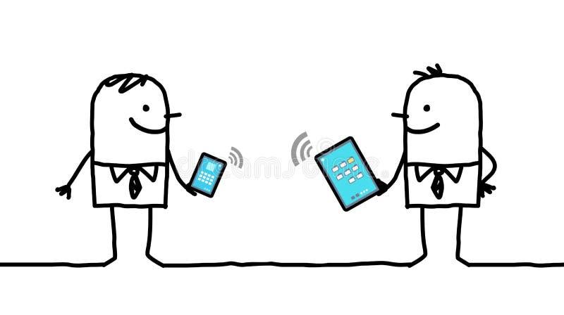 Beeldverhaalzakenlieden aan digitale tablet en telefoon worden verbonden die vector illustratie