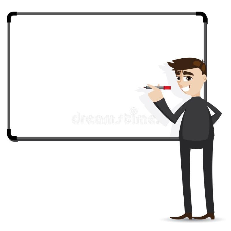 Beeldverhaalzakenman die whiteboard schrijven royalty-vrije illustratie