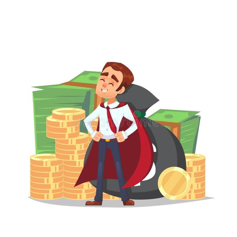 Beeldverhaalzakenman die zich met stapel van geld bevinden Het karakter in de mantel van een superhero bevindt zich met stapel va vector illustratie