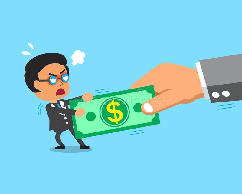 Beeldverhaalzakenman en grote hand do tug-of-war met geld vector illustratie