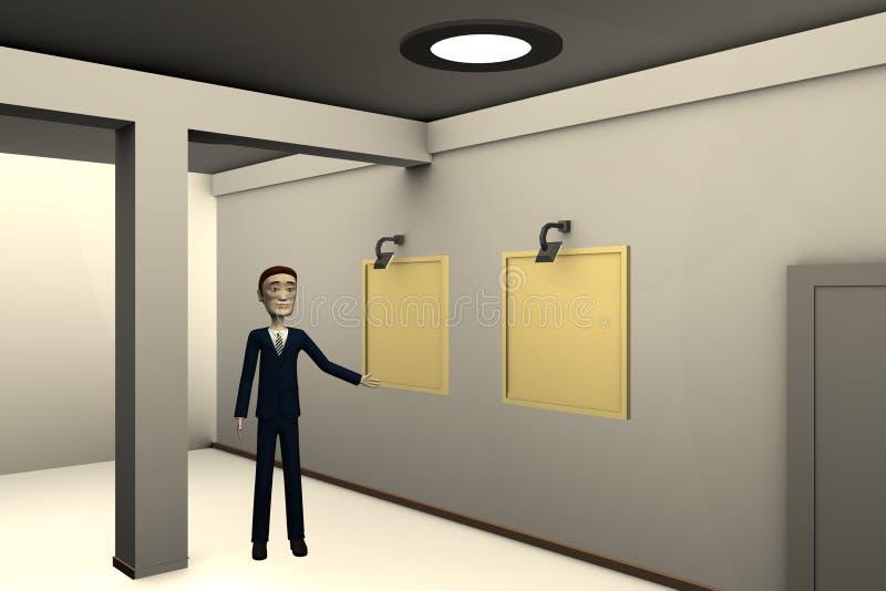 Download Beeldverhaalzakenman In Galerij Stock Illustratie - Illustratie bestaande uit render, teruggegeven: 29504933