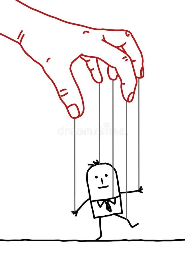 Beeldverhaalzakenman - marionet royalty-vrije illustratie