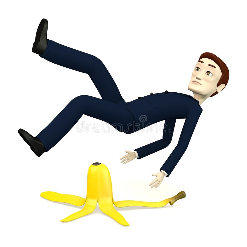Beeldverhaalzakenman met banaanschil vector illustratie