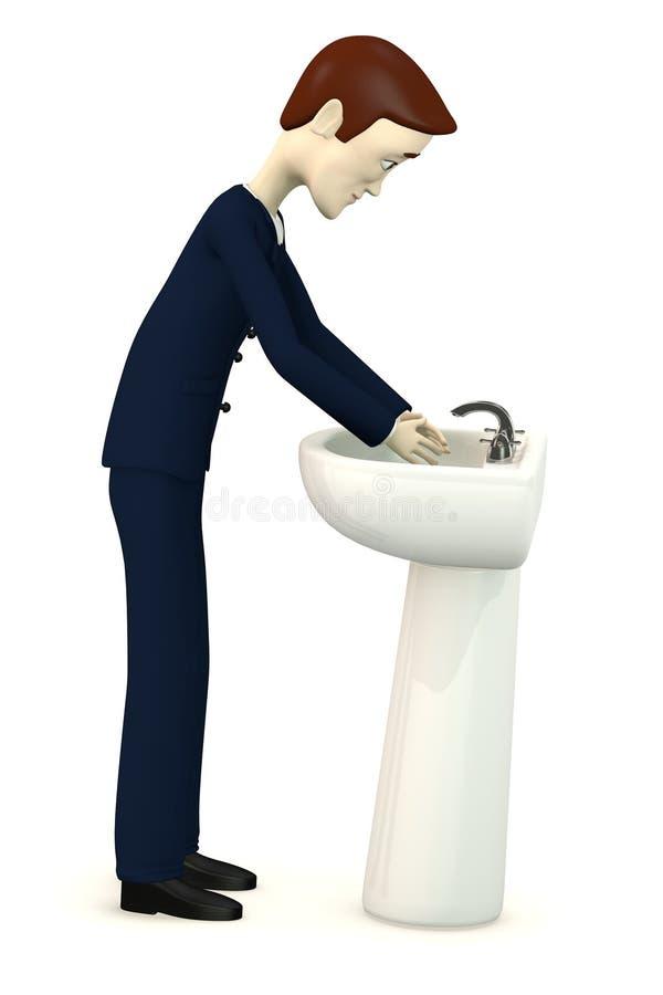 Beeldverhaalzakenman met bassin vector illustratie