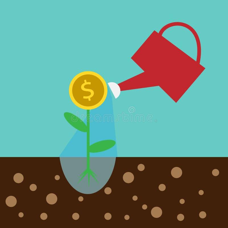 , beeldverhaalzakenman met geld in zijn te bewaren hand beeldverhaalillustratie voor zaken des stock illustratie