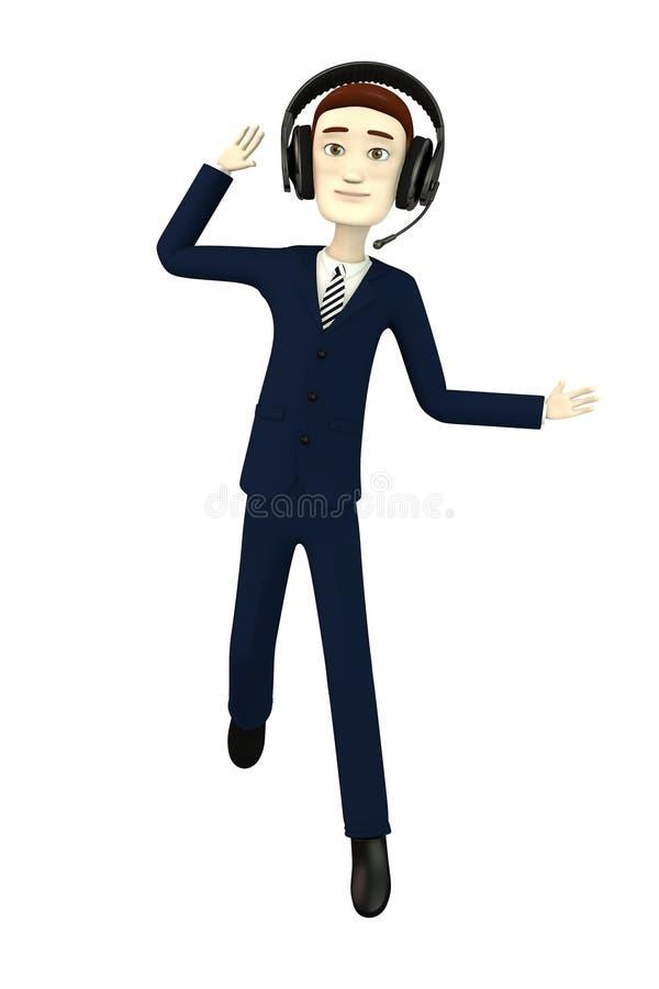 Download Beeldverhaalzakenman Met Hoofdtelefoons Stock Illustratie - Illustratie bestaande uit sexy, microfoon: 29504984