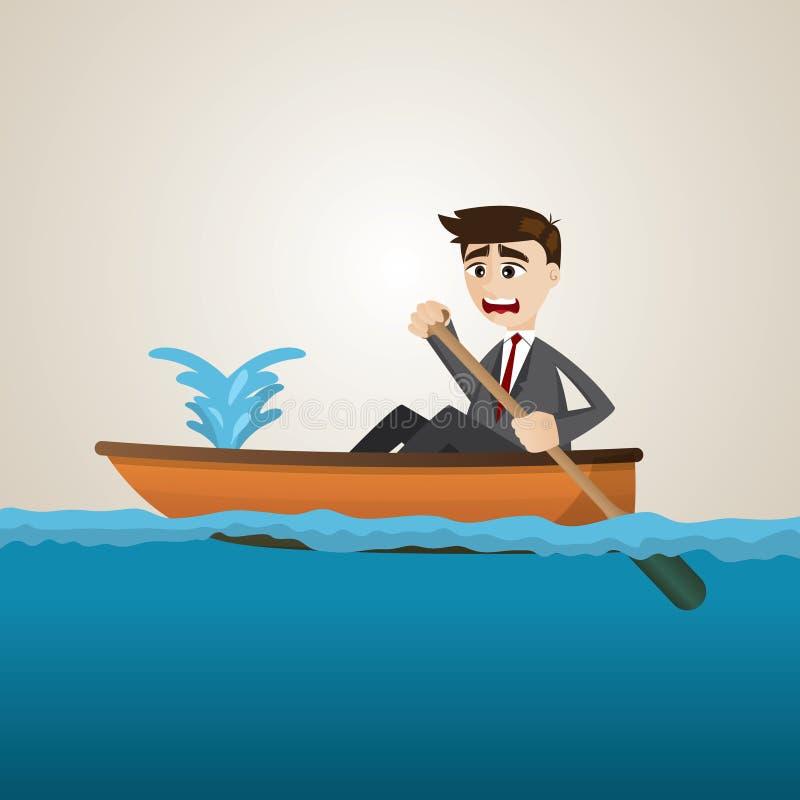 Beeldverhaalzakenman met lekke boot vector illustratie
