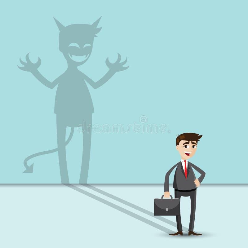 Beeldverhaalzakenman met schaduw van kwaad royalty-vrije illustratie