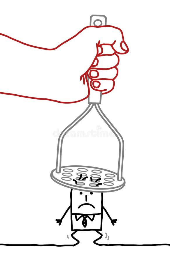 Beeldverhaalzakenman - onder druk stock illustratie