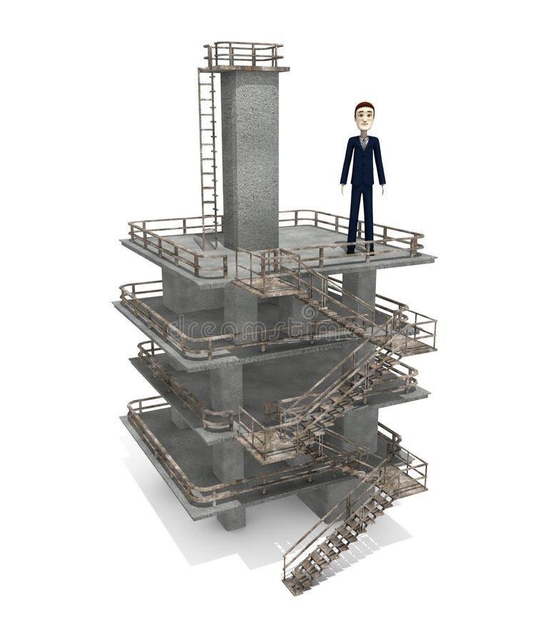 Download Beeldverhaalzakenman Op Industriële Toren Stock Illustratie - Illustratie bestaande uit industry, mensen: 29505003