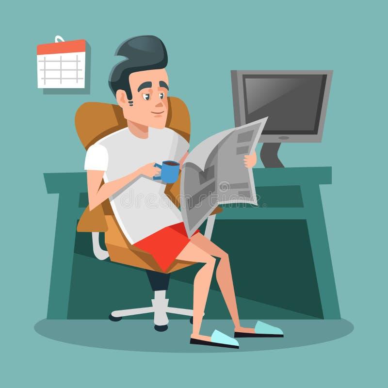 Beeldverhaalzakenman Reading Newspaper met Koffie op Kantoor als thuis Het werkonderbreking vector illustratie