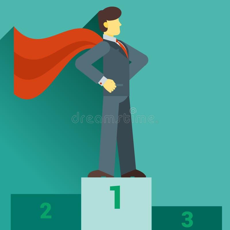 Beeldverhaalzakenman Super Hero met een rode kaap royalty-vrije illustratie
