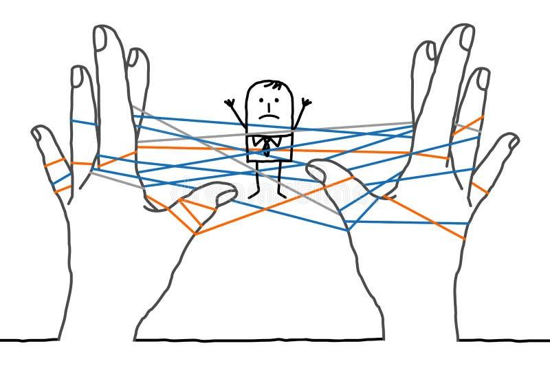 Beeldverhaalzakenman - verward netwerk stock illustratie