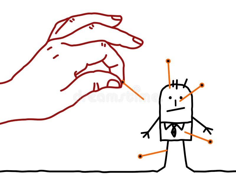 Beeldverhaalzakenman - voodoo royalty-vrije illustratie