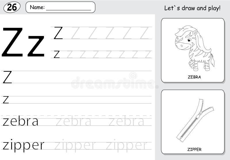 Beeldverhaalzebra en ritssluiting Alfabet vindend aantekenvel: het schrijven A royalty-vrije illustratie
