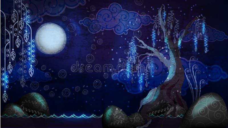 Beeldverhaalzeegezicht met maan en boom royalty-vrije illustratie