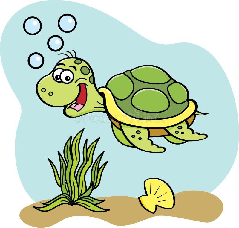 Beeldverhaalzeeschildpad onderwater zwemmen stock illustratie