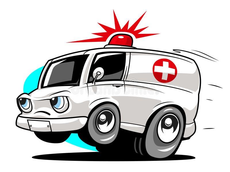 Beeldverhaalziekenwagen stock illustratie