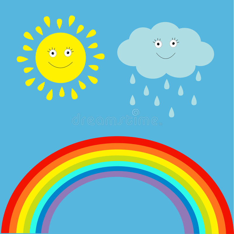 Beeldverhaalzon, wolk met regen en regenboogreeks.  Kinderen grappig IL royalty-vrije illustratie
