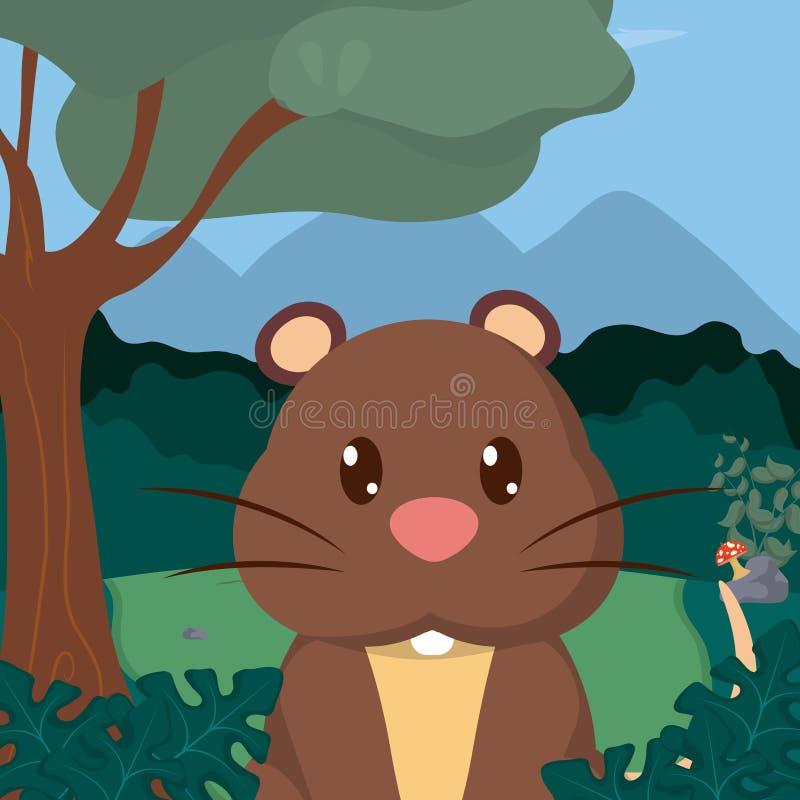 Beeldverhalen van bever de leuke dieren vector illustratie