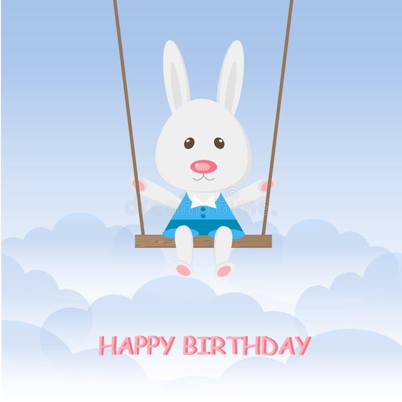 Beeldverhalenkonijn die op de schommeling in de blauwe hemel slingeren De leuke Gelukkige verjaardag van de hazenjongen vector illustratie