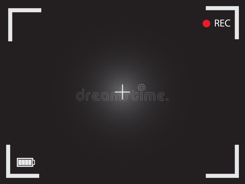 Beeldzoeker vectorpictogram Het zwarte lege camerascherm met cinematic stock illustratie