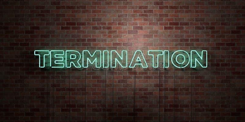 BEENDIGUNG - Leuchtstoffneonröhre-Zeichen auf Maurerarbeit - Vorderansicht - 3D übertrug freies Bild der Abgabe auf Lager stock abbildung
