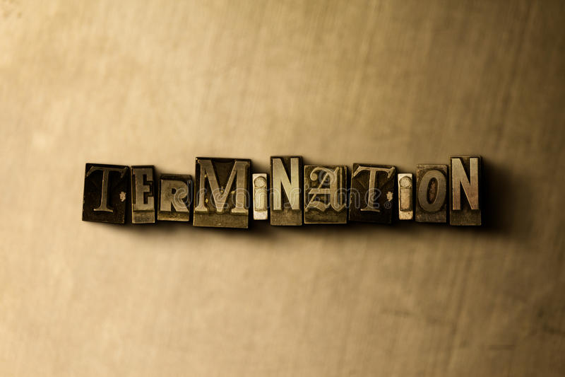 BEENDIGUNG - Nahaufnahme des grungy Weinlese gesetzten Wortes auf Metallhintergrund lizenzfreie abbildung