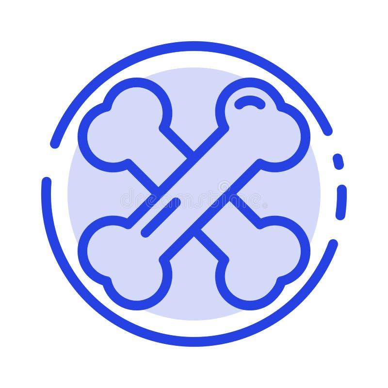 Beengezondheid, Calcium, Gezonde Beenderen, de Lijnpictogram van de Reumatiek Blauw Gestippelde Lijn stock illustratie