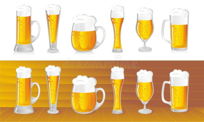 Beer. Set of beer mugs with light beer stock illustration
